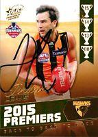 ✺Signed✺ 2015 HAWTHORN HAWKS AFL Premiers Card JORDAN LEWIS