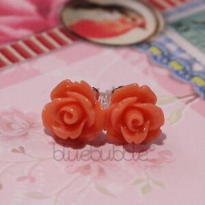 FUNKY VINTAGE 10mm ROSE EARRINGS 28 COLOURS CUTE KITSCH RETRO BOHO CHIC EMO GIFT