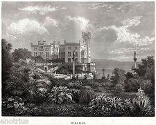 TRIESTE: Castello di Miramare.Tergeste.Friuli-Venezia Giulia. Stampa Antica.1876