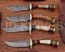 LOT OF 4  6 INCH CUSTOM DAMASCUS STEEL HUNTING KNIFE  STAG ANTLER B8-11729