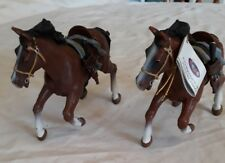 2 Papo Horses with Ornate Saddle and Weapons - Quite Rare