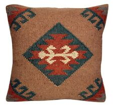 Vintage Kilim Pillow Case 18x18 Hand Woven Jute Rug Cushion Cover Rustic Pillows