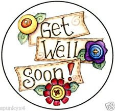"Get Well Soon 1.5"" round Envelope seals or stickers"