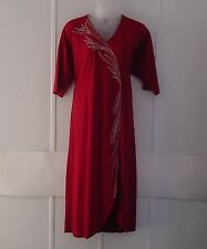 Bob Mackie Embroidered Lounge Dress w/Jewel Embellishment Size S Cranberry