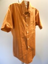 Nos Vintage 60s Fleetline Brown Shirt Wing Collar Atomic Mod Short Sleeve 15.5