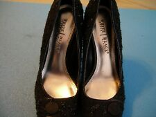 White House Black Market High Heel Black Sparkle Fabric Sz 7 1/2 M Stilleto Shoe