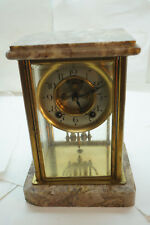 ANTIQUE CRYSTAL REGULATOR CLOCK MARBLE BASE OPEN ESCAPEMENT DIAMOND TRADE MARK
