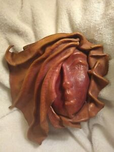 Vintage Hand Tooled Leather Face Wall Art Hanging Sculpted Art Deco Leathercraft