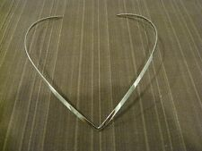 SOLID BRASS ON SILVER PLATED CHOKER NECKLACE, PLAIN PATTERN AND V AND THIN SHAPE