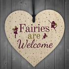 Wooden Fairies Welcome Hanging Garden Gardening Shed Wall Plaque Fairy Sign