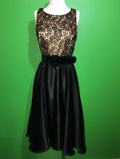COLDWATER CREEK Black Lace and Satin Sleeveless Belted Dress - Size 6