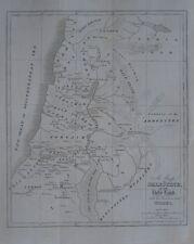 Original 1827 Bible Map PALESTINE HOLY LAND Tribes Beersheba Jerusalem Damascus