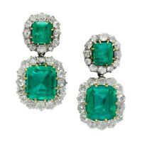 Green Emerald White Round Halo 925 Sterling Silver High Vintage Style Earrings