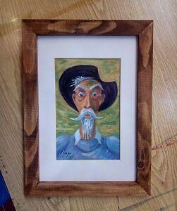 Llop - Quijote 26 - mini óleo s/lienzo original y enmarcado 32x24