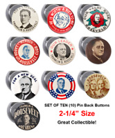 FDR Reproduction Pinback Button - Set of 10 - 2.25 inch  Pin Buttons