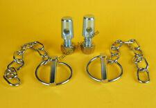 2 x Lynch Pin & Chain 8mm dia. pin x 40mm dia. ring with a bolt on locking tab