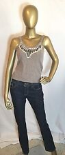 Free People Wool Angora Blend Tank Top Size Small Beaded Embroidered Greige Grey
