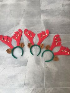 Christmas In July Antler Headband with Ears Pk 3 Aussie Seller Santa Hat