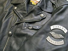 Harley Davidson Leather Motorcycle Jacket 90s embossed Eagle Bar & Shield Mens L