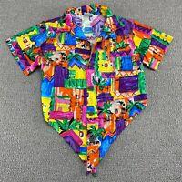 Fast Lane Toucan Dance Hawaiian Shirt Womens S Bright Multicolor Camp USA VTG