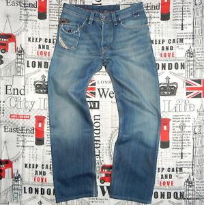 True Vintage mens W29 L30 Diesel LUGGER Jeans Regular Straight Blue Wash 0070E