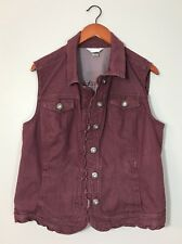 Christopher & Banks Denim Vest Maroon Red Button Down Ruffled Detail Sz XL