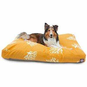 Yellow Coral Large Rectangle Indoor Outdoor Pet Dog Bed With Removable Washab...