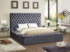 Modern King Size Bed Bedroom Furniture Gray Color Velvet Storage Rails Footboard
