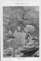 1873 Antique Print - SCOTLAND Loch Lomond Rob Roys Cave Ladies Men Boat  (194)