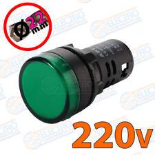 Piloto LED VERDE 22mm 220v indicador multichip panel 20mA IP65 alto brillo