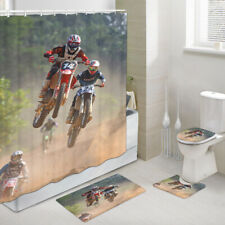 Flying Motorcycle Shower Curtain Toilet Cover Rug Bath Mat Contour Rug Set