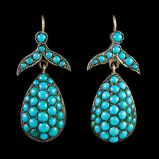 ANTIQUE VICTORIAN TURQUOISE FRUIT DROP EARRINGS 18CT GOLD CIRCA 1870