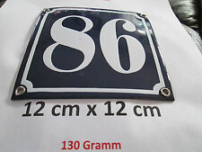 Hausnummer  Emaille Nr. 86  weisse Zahl auf blauem Hintergrund 12 cm x 12 cm