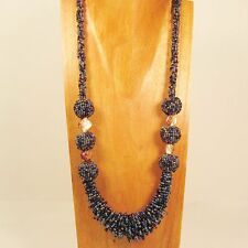 """28"""" Long Handmade Black Blue Color Shell Seed Bead Necklace FREE SHIPPING!!"""