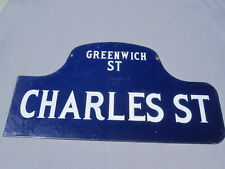 Vintage New York City Street Porcelain Sign Greenwich Village Road Old Antique