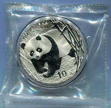 China 2002 Panda Silver Coin Genuine 1 OZ 10 Yuan UNC