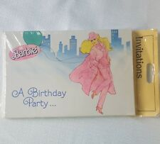 8 Adult Vintage Mattel Barbie Birthday Invitations 1989 Pink Trench Coat Hat