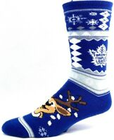 Toronto Maple Leafs Hockey Ugly Christmas Sweater Reindeer Crew Sock Blue