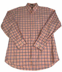 Orvis Mens Button Front Shirt Size Large Signature Collection Orange Check