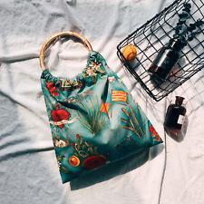 134 Korean Fashion Handmade Floral Print Cotton Tote Bag Purse Bamboo Handles1