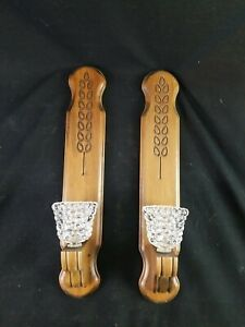 """Vintage Wall hanging candle Sconces Candle Holder Wooden 18"""" tall"""