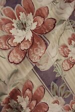 Antique French Art Nouveau fabric material floral stripe upholstery weight old