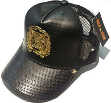 NEW GOLD STAR BLACK/ GOLD LEATHER DR COAT OF ARMS TRUCKER HAT $55 Special price.