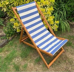 2 X VINTAGE STYLE TRADITIONAL CANVAS FOLDING WOODEN ADJUSTABLE DECKCHAIRS
