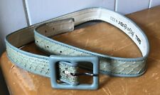 Vintage YSL Yves Saint Laurent blue green faux leather skinny buckle belt Small