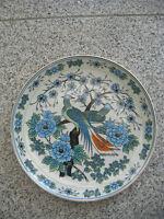 Assiette/Décoration Porcelaine ASIATIQUE COUPLE OISEAUX DU PARADIS  23,8  cm