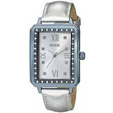 GUESS Ladies Fancy Crystal Glitz Watch, Blue & Silver Metallic Leather Band