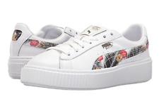 PUMA Basket Platform Aloha Jr UK 3 to 6 White Leather Floral Sneaker Trainers