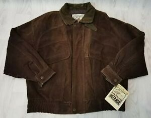 BNWT MENS GENTS NEW ZEALAND OUTBACK PIG BROWN LEATHER FLIGHT BOMBER JACKET LARGE