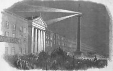 IRELAND. Lights, Nelsons Column, Sackville St, Dublin, antique print, 1849
